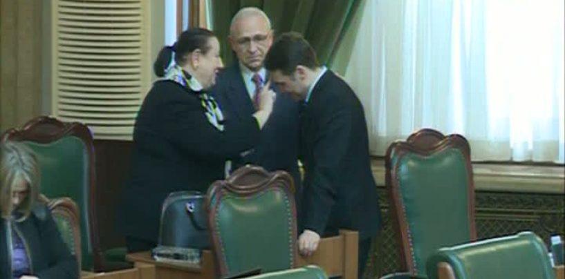 Senatorul Dan Sova, miruit, in plen, inainte de votul dat pentru arestarea sa preventiva