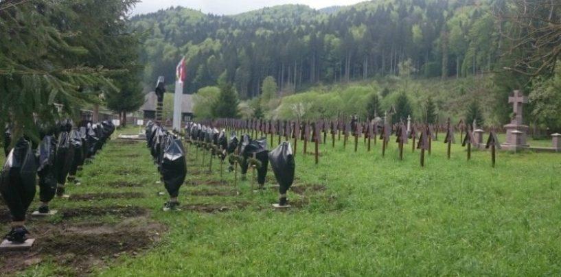 Din mizeriile extremiștilor maghiari: Crucile eroilor români din Valea Uzului, acoperite cu saci de gunoi. Update: PMP reacționează